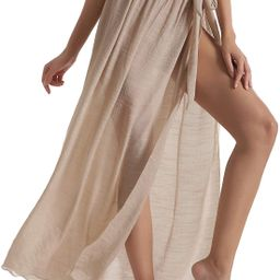 Eicolorte Beach Sarong Pareo Womens Semi-Sheer Swimwear Cover Ups Short Skirt with Tassels   Amazon (US)