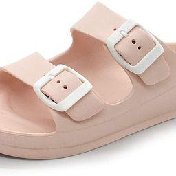 FUNKYMONKEY Women's Comfort Slides Double Buckle Adjustable EVA Flat Sandals | Amazon (US)