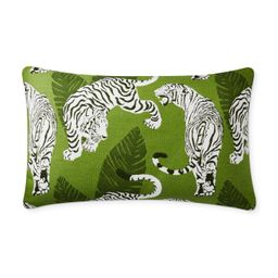 "Outdoor Tiger Tropical Jacquard Pillow Cover, 14 x 22"", Green | Williams-Sonoma"