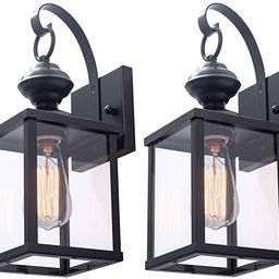 VILUXY Contemporary Outdoor Indoor Glass Wall sconces Matte Black Finish Wall Lamp for Entryway, ...   Amazon (US)