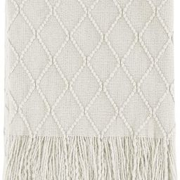 """Bourina Beige Throw Blanket Textured Solid Soft Sofa Couch Cover Decorative Knitted Blanket, 50"""" ...   Amazon (US)"""