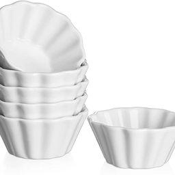 DOWAN Creme Brulee Ramekins 6 Oz Oven Safe, Porcelain Souffle Custard Cups Dishwasher Safe and Mi... | Amazon (US)