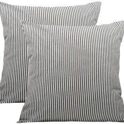 Black White Farmhouse Striped Throw Pillow Covers Decorative Polyester Linen Ticking Soft Cushion...   Amazon (US)