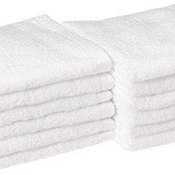 Amazon Basics Quick-Dry, Luxurious, Soft, 100% Cotton Towels, White - Set of 12 Washcloths | Amazon (US)