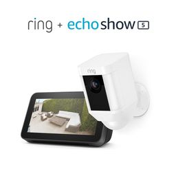 Ring Spotlight Cam Battery (White) Bundle with Echo Show 5 (2nd Gen) | Amazon (US)