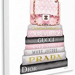 The Stupell Home Décor Collection Watercolor High Fashion Bookstack Padded Pink Bag Stretched Ca...   Amazon (US)