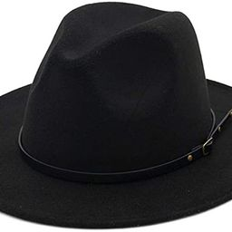 HUDANHUWEI Women's Classic Wide Brim Fedora Hat with Belt Buckle Felt Panama Hat | Amazon (US)