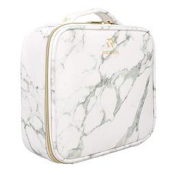 Relavel Marble Makeup Bag Makeup Organizer Bag Travel Train Case Portable Cosmetic Artist Storage... | Amazon (US)