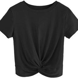 MakeMeChic Women's Summer Crop Top Solid Short Sleeve Twist Front Tee T-Shirt | Amazon (US)