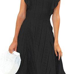 ECOWISH Womens Dresses Elegant Ruffles Cap Sleeves Summer A-Line Midi Dress | Amazon (US)