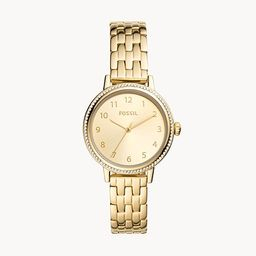 Reid Three-Hand Gold-Tone Stainless Steel Watch | Fossil (US)