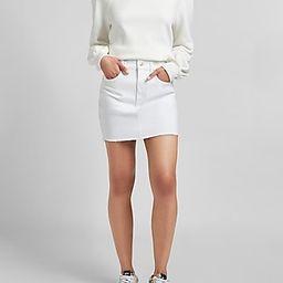 High Waisted White Raw Hem Jean Skirt | Express