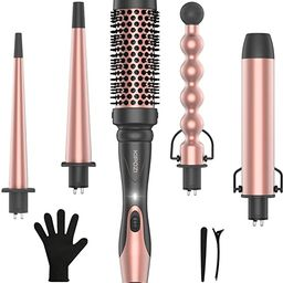 KIPOZI Professional 5 in 1 Curling Wand Set, Instant Heat Up Hair Curler Wand with 4 Interchangea...   Amazon (US)