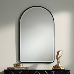 "Uttermost Clara Matte Black 24"" x 39"" Arch Top Mirror | LampsPlus.com"