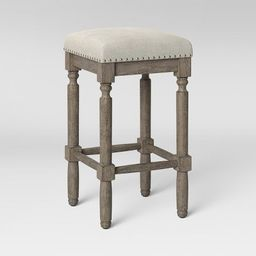 Erving Wood and Upholstered Backless Counter Height Barstool Taupe - Threshold™   Target