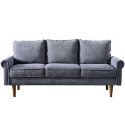 Classic 3 seat Velvet Roll Arm sofa with Black walnut feet - Grey | Overstock