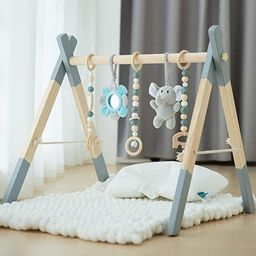 Wooden Baby Play Gym, Avrsol Foldable Baby Play Gym Frame Activity Gym Hanging Bar with 5 Gym Bab... | Amazon (US)