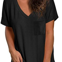 NSQTBA Womens Short Sleeve V Neck T Shirts Loose Casual Summer Tops Tees with Pocket   Amazon (US)