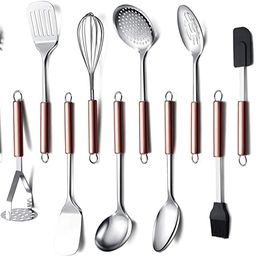 Cooking Utensil Set, 12 Piece Stainless Steel Kitchen Utensil Set, Kitchen Gadgets Cookware Set, ... | Amazon (US)