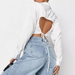 Missguided - White Satin Button Front Open Back Cropped Shirt | Missguided (US & CA)