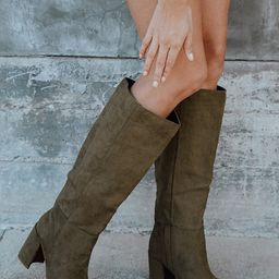 Katari Olive Green Suede Pointed-Toe Knee High Boots | Lulus (US)