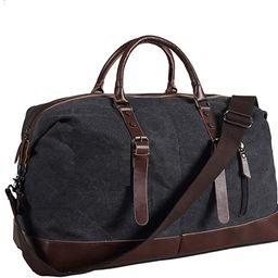 Ulgoo Travel Duffel Bag Canvas Bag PU Leather Weekend Bag Overnight   Amazon (US)