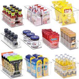 Clear Fridge Organizer Bins Set - 10 Piece Plastic Organizer Fridge Bins with Handle for Freezer,... | Amazon (US)