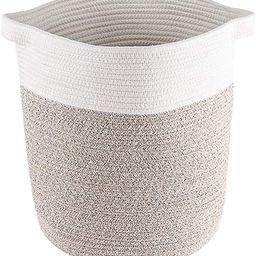 Lyricalife Woven Storage Basket, Large Pure Cotton Organizer 16x15x15inches, Tall Basket with Gen... | Amazon (US)