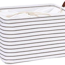 Hinwo 31L Large Capacity Storage Basket Canvas Fabric Storage Bin Collapsible Storage Box with PU...   Amazon (US)