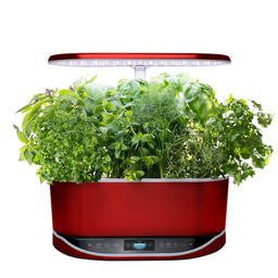 AeroGarden Bounty Elite Red Stainless- In Home Garden with Gourmet Herb Seed Pod Kit (Alexa Enabled) | The Home Depot