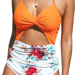 CUPSHE Women's One Piece Swimsuit Cutout Halter Lace Up Twist Bathing Suit | Amazon (US)