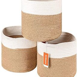 Kriitools Storage Bins Cube Organizer Baskets|3 Pack Round Woven Cotton Rope Storage Basket for T... | Amazon (US)