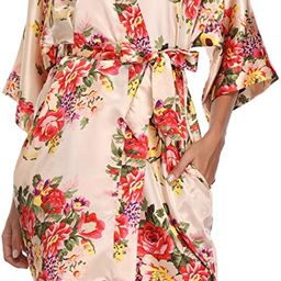 VOGTORY Women's Floral Satin Robes Bridesmaid Short Kimono Bathrobes for Wedding Party with 2 Sid... | Amazon (US)