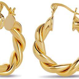 Twisted Chunky Hoop Earrings 14K Gold Plated Dainty Lightweight Hypoallergenic Open Hoops Earring...   Amazon (US)