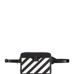 Off-White Diagonal Stripe Camera Crossbody Belt Bag   Neiman Marcus