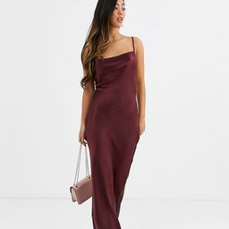 ASOS DESIGN Petite cami maxi slip dress in high shine with lace up back-Purple | ASOS (Global)