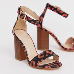 Glamorous orange leopard print square toe stacked heeled sandals | ASOS (Global)