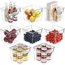 Huolewa Set Of 8 Pantry Bins, Refrigerator Organizer Bins with Handle for Pantry, Fridge, Freezer... | Amazon (US)