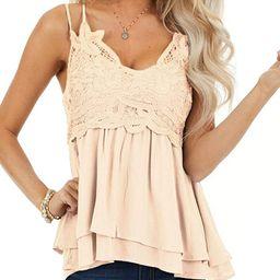 Feager Women Lace V Neck Chiffon Cami Tank Top Spaghetti Strap Sleeveless Shirts | Amazon (US)