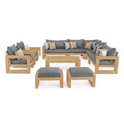 RST Brands Benson 11-Piece Wood Patio Conversation Set with Sunbrella Charcoal Grey Cushions-OP-A...   The Home Depot
