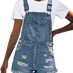 luvamia Women's Ripped Short Overalls Adjustable Denim Bib Overall Shorts Romper | Amazon (US)