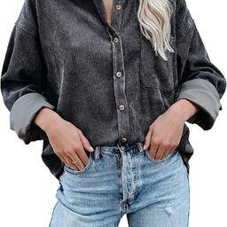 Sidefeel Women Corduroy Long Sleeve Button Down Shirt Oversized Jacket Tops   Amazon (US)