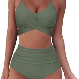SUUKSESS Women Wrap Bikini Set Push Up High Waisted 2 Piece Swimsuits | Amazon (US)