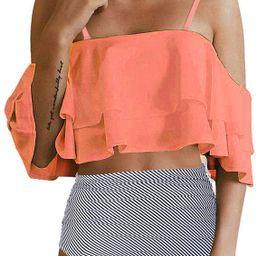 Tempt Me Women Two Piece Swimsuit High Waisted Bikini Off Shoulder Ruffle Bathing Suits | Amazon (US)