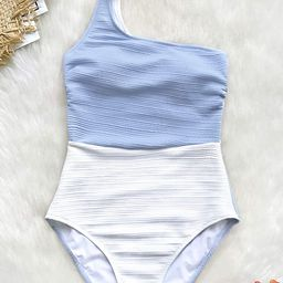 CUPSHE Women's One Piece Swimsuit Color Block One Shoulder Bowknot Bathing Suit | Amazon (US)