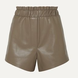 Nanushka - Lora Ruffled Vegan Leather Shorts - Brown | Net-a-Porter (US)