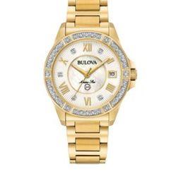 Bulova Women's Gold-Tone Marine Star Diamond Bracelet Watch - | Belk