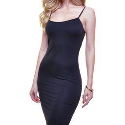 Angelina Women's Nightgowns BLACK - Black Spaghetti-Strap Bodycon Dress | Zulily