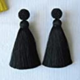Thick Silk Black Tassel Earrings On Studs, Handmade Silk Black Beaded Thick Tassel Earrings, Massive | Amazon (US)