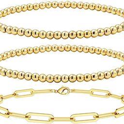 Reoxvo Gold Layered Bracelets for Women,18K Gold Plated Beaded Ball Bracelets for Women Gold Stac... | Amazon (US)